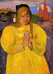 Breton Woman in Prayer 1894 By Paul Gauguin