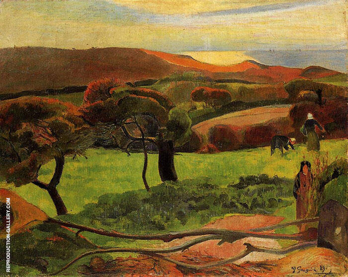 Fields by the Sea Le Pouldu 1889 Painting By Paul Gauguin