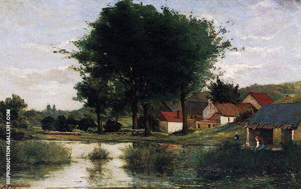 Autumn Landscape, Farm and Pond 1877 By Paul Gauguin