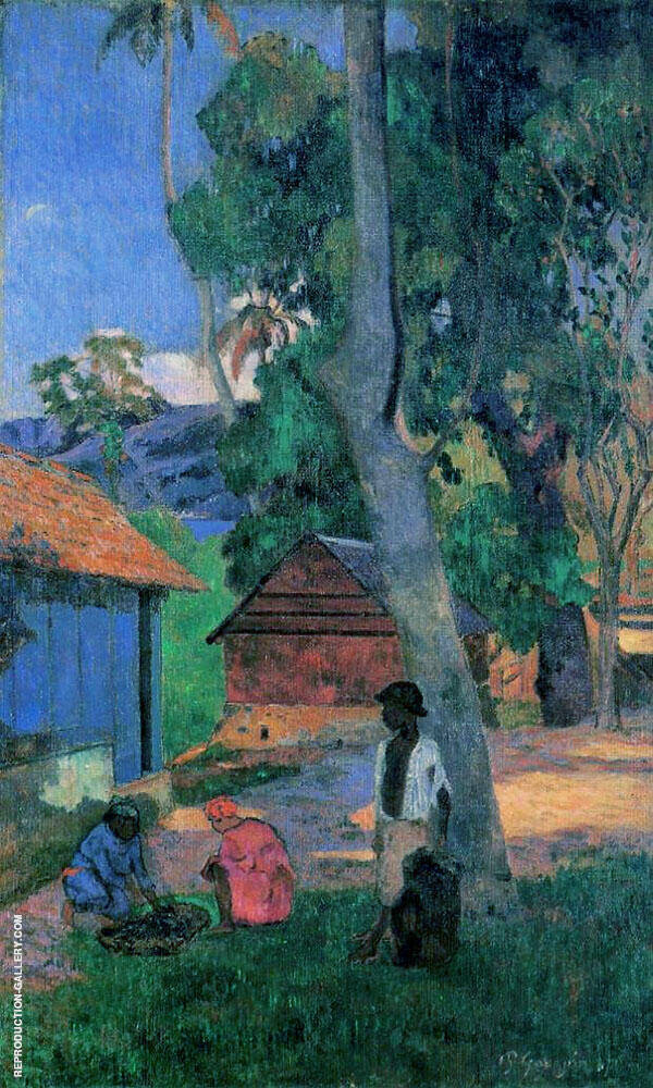 Around the Huts 1877 By Paul Gauguin