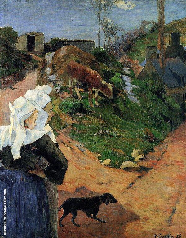 Breton Women at the Turn 1888 By Paul Gauguin