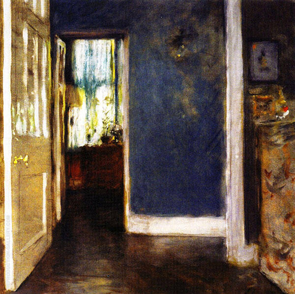 Green Window Curtain By William Merritt Chase