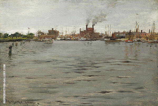 Harbor Scene Brooklyn Docks By William Merritt Chase