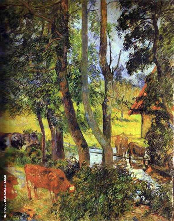 Cattle Drinking, Edge of the Pond 1885 By Paul Gauguin