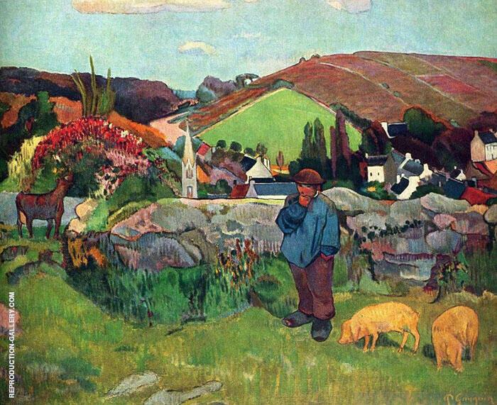 Landscape with Swineherd By Paul Gauguin