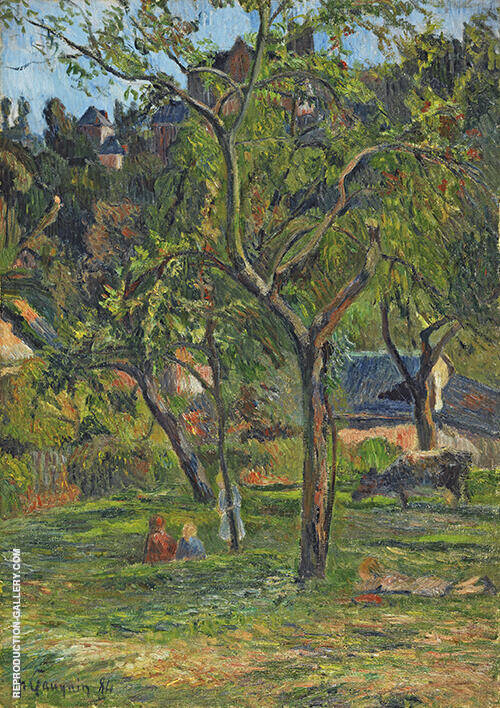 An Orchard under the Church at Bihorel 1884 By Paul Gauguin
