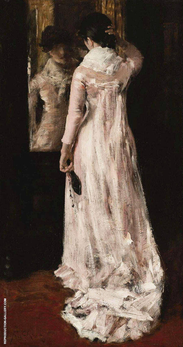 I Think Im Ready Now The Mirror The Pink Dress 1883 By William Merritt Chase