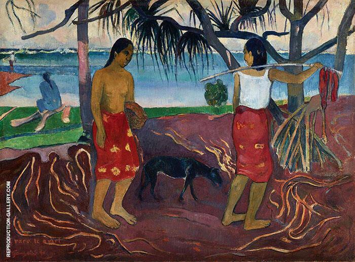 Under the Pandanus I Raro te Oviri 1891 By Paul Gauguin