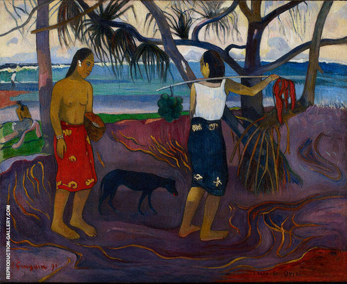 Under the Pandanus I Raro te Oviri 1891 II By Paul Gauguin