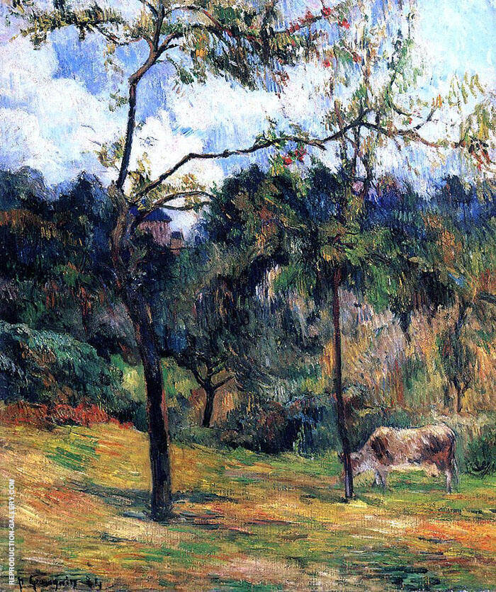 Cow in a Meadow Rouen 1884 By Paul Gauguin