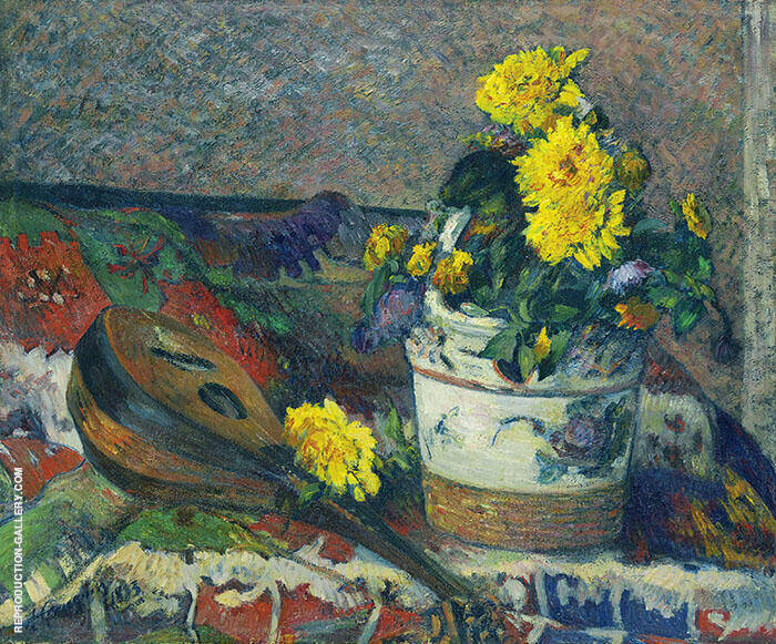 Dahlias and Mandolin 1883 By Paul Gauguin