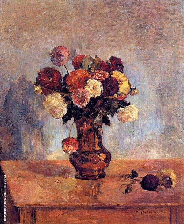 Dahlias in a Copper Vase 1885 By Paul Gauguin