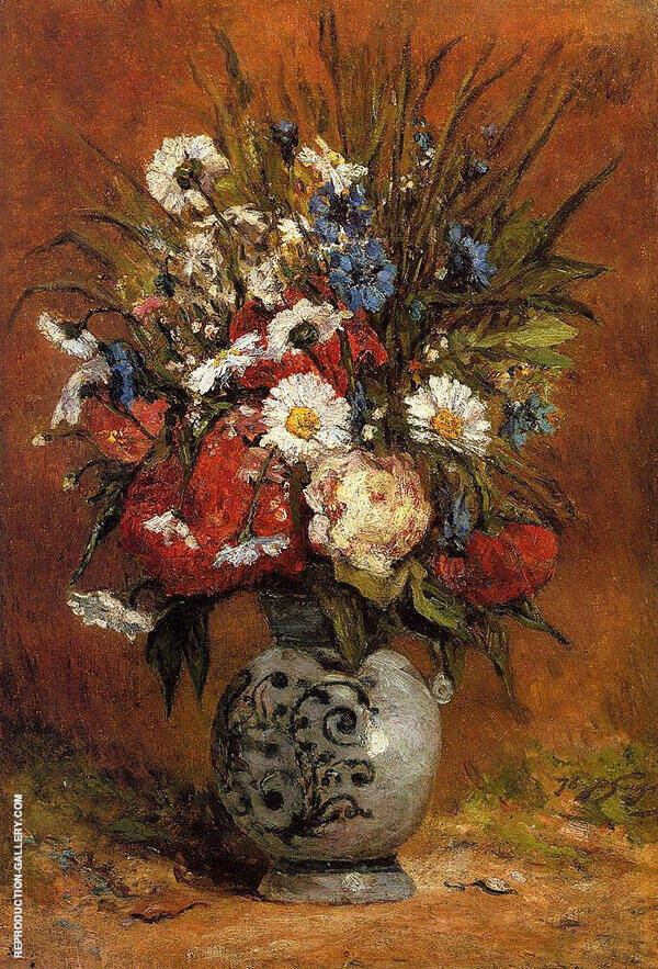 Daisies and Peonies in a Blue Vase 1876 By Paul Gauguin