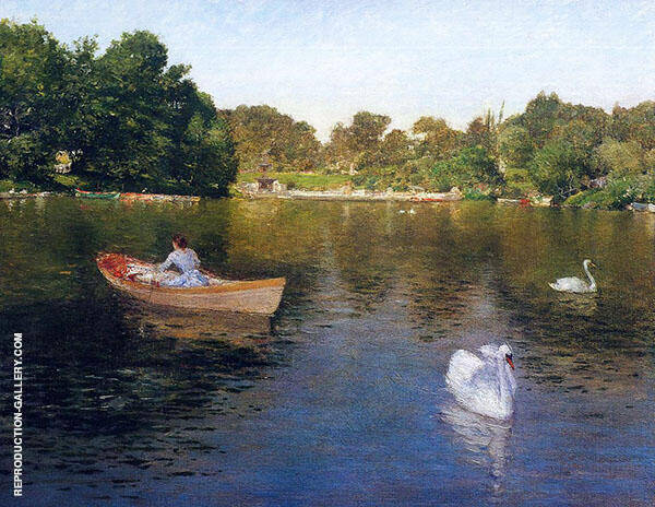 on The Lake Central Park By William Merritt Chase