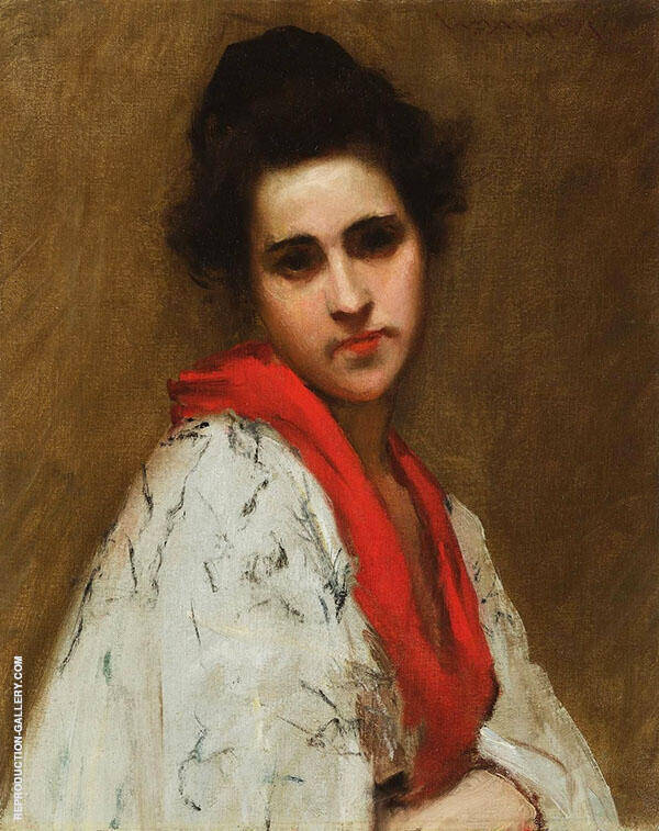Portrait of a Woman Lady in a Kimono c1890 By William Merritt Chase