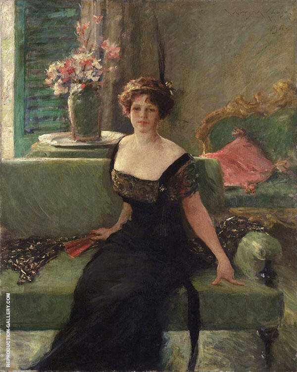 Portrait of a Lady in Black Annie Traquair Lang 1911 By William Merritt Chase