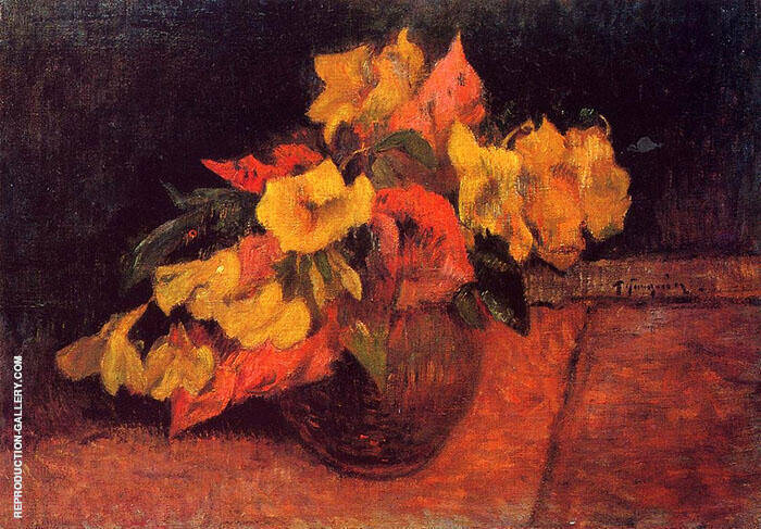 Evening Primroses in a Vase 1885 By Paul Gauguin