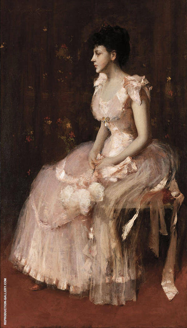 Portrait of Lady in Pink Painting By William Merritt Chase