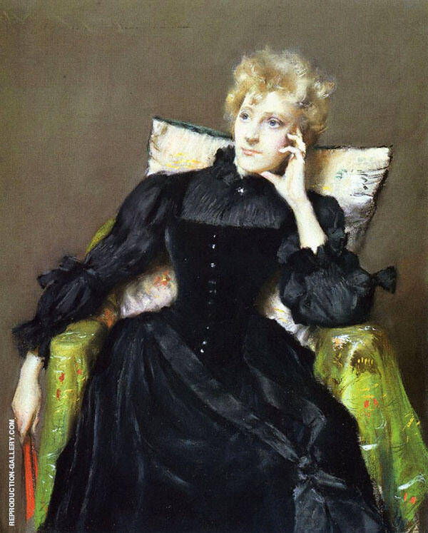 Seated Woman in Black Dress 1890 Painting By William Merritt Chase