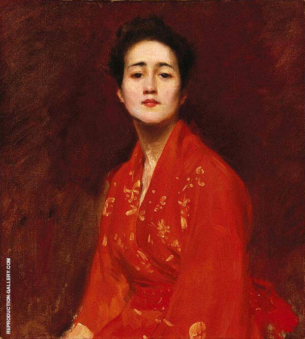 Study of Girl in Japanese Dress Painting By William Merritt Chase