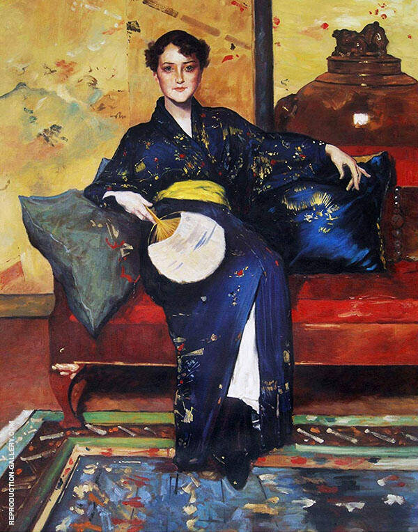 The Blue Kimono Painting By William Merritt Chase - Reproduction Gallery
