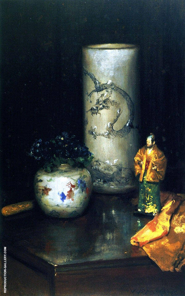 Violets and Still Life By William Merritt Chase