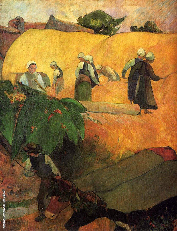 Haymaking in Brittany 1880 By Paul Gauguin