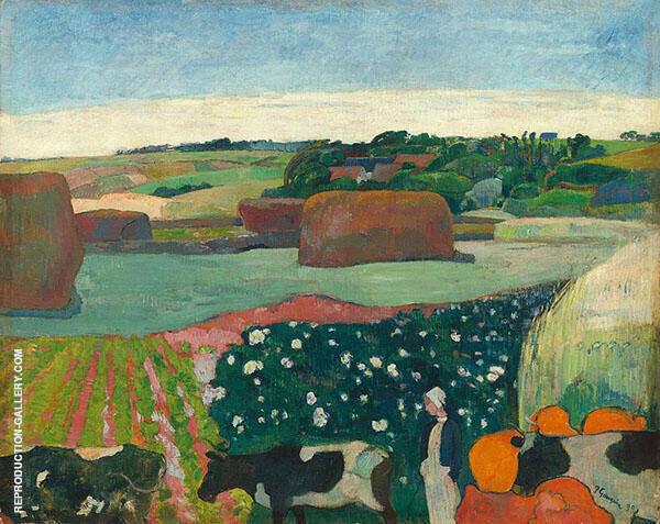 Haystacks in Britanny The Potato Field 1890 By Paul Gauguin