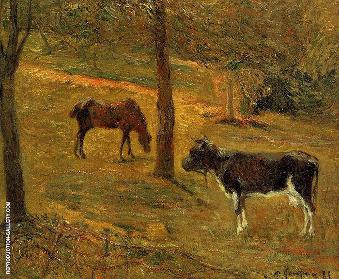 Horse and Cow in a Field 1885 By Paul Gauguin