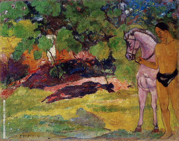 In the Vanilla Grove Man and Horse, The Rendezvous 1891 By Paul Gauguin