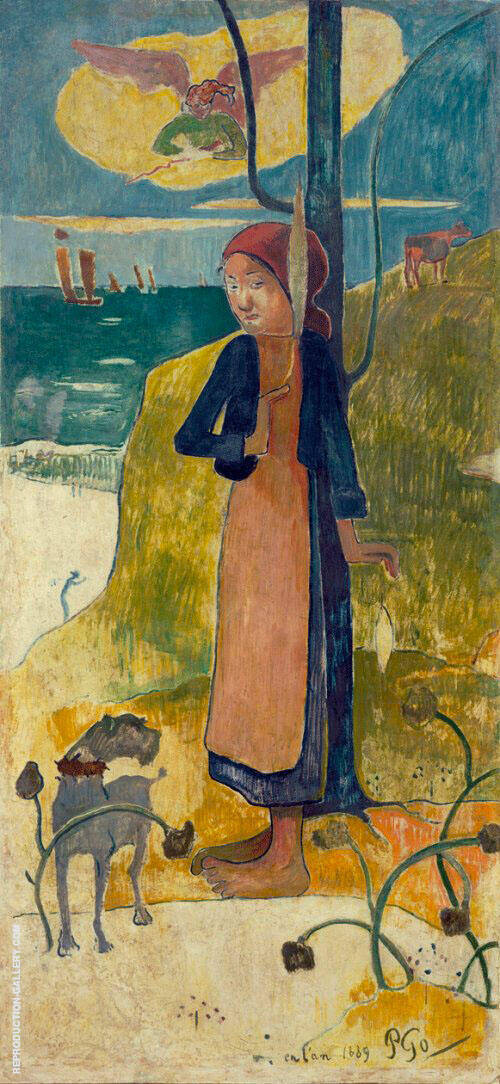 Joan of Art Breton Girl Spinning 1889 By Paul Gauguin