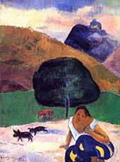 Landscape with Black Pigs and a Crouching Tahitian 1891 By Paul Gauguin