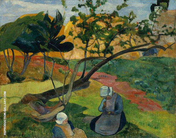 Landscape with Two Breton Women 1889 By Paul Gauguin
