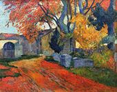 Lane at Alchamps Arles 1888 By Paul Gauguin