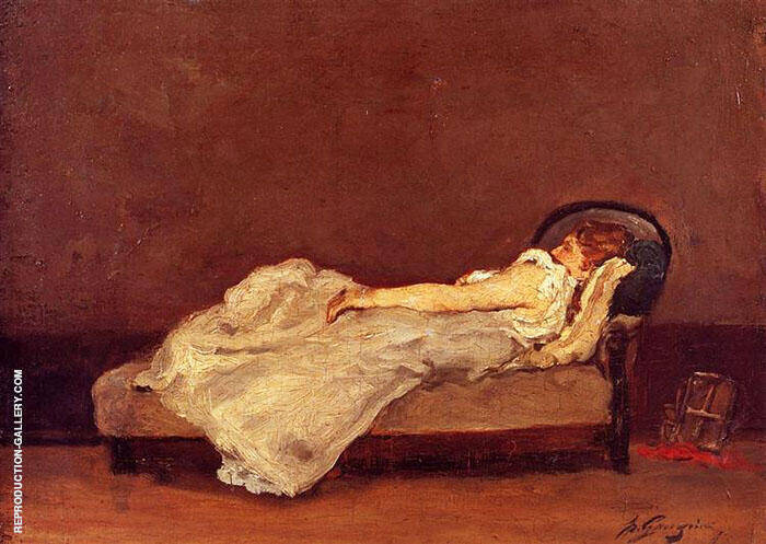 Mette Asleep on a Sofa 1875 By Paul Gauguin