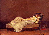 Mette Asleep on a Sofa 1875 By Paul Gauguin