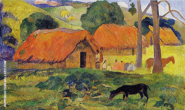 Three Huts 1891 By Paul Gauguin