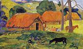 Three Huts 1891 By Paul Gauguin