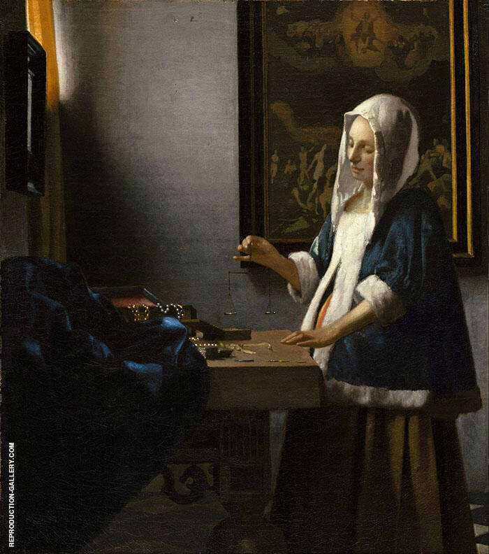 A Woman Holding a Balance c1662 By Johannes Vermeer