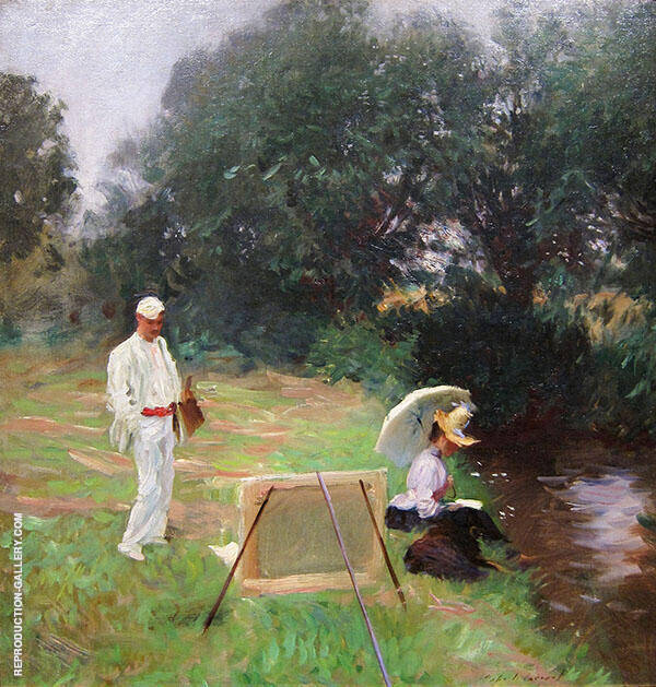 Dennis Miller Bunker Painting at Calcot 1888 By John Singer Sargent