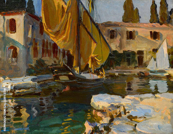 San Vigilio Boat with a Golden Sail By John Singer Sargent