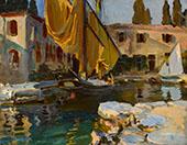 San Vigilio Boat with a Golden Sail By John Singer Sargent