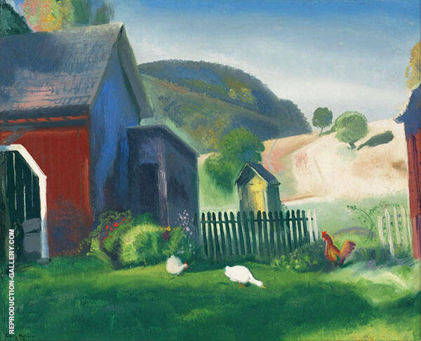 Barnyard and Chickens 1924 By George Bellows