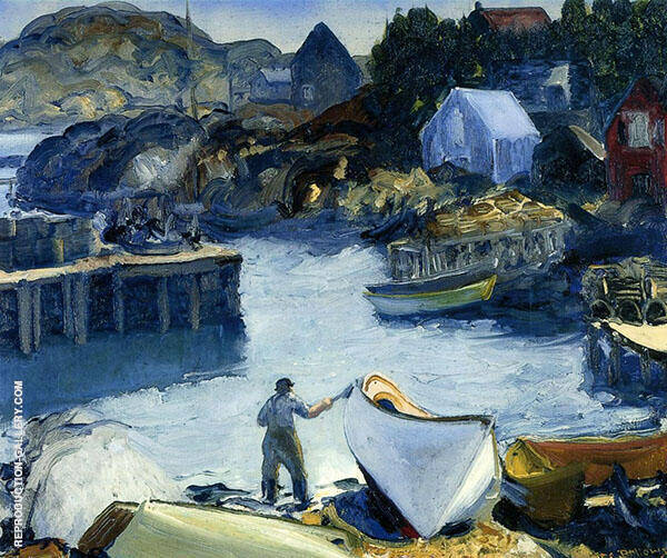 Cleaning His Lobster Boat 1916 By George Bellows