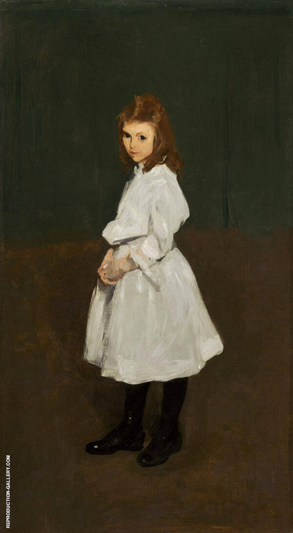 Little Girl in White Queenie Burnett 1907 Painting By George Bellows