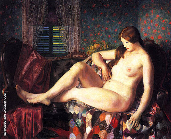 Nude with Hexagonal Quilt 1924 By George Bellows