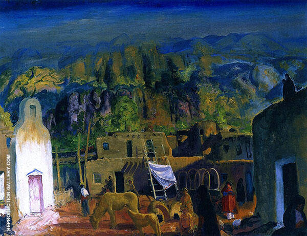 Pueblo Tesuque Number One Painting By George Bellows