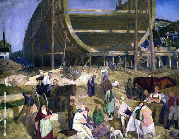 Shipyard Society Painting By George Bellows - Reproduction Gallery