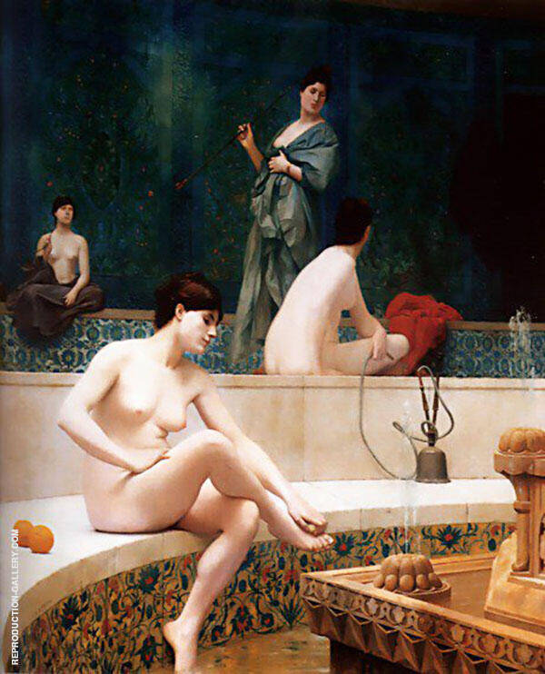 A Bath Woman Bathing Her Feet aka Harem Pool 1889 By Jean Leon Gerome
