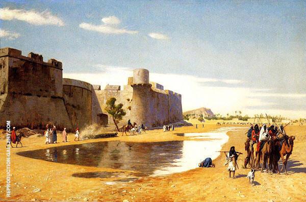 An Arab Caravan Outside a Fortified Town Egypt By Jean Leon Gerome